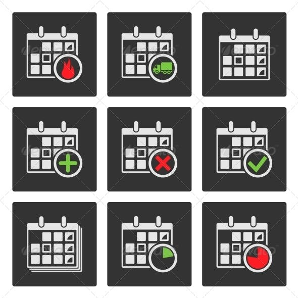 Calendar Icons. Events, Progress, Delivery. Vector