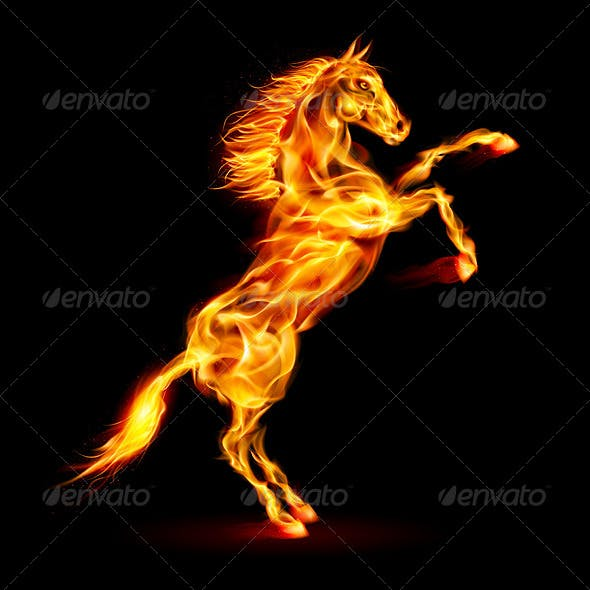 Fire Horse Rearing Up