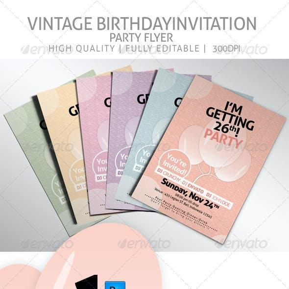 Vintage Birthday Invitation Party Flyer