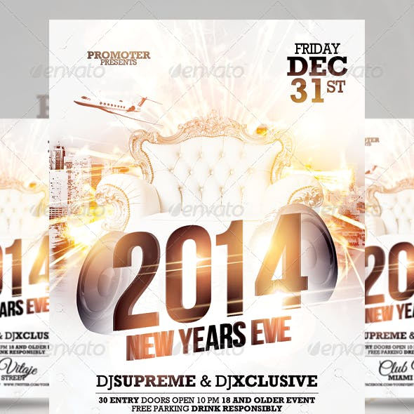 All White NYE Party Flyer