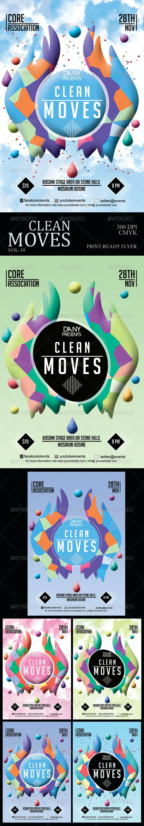 Clean Moves Futuristic Flyer 10 - Clubs & Parties Events