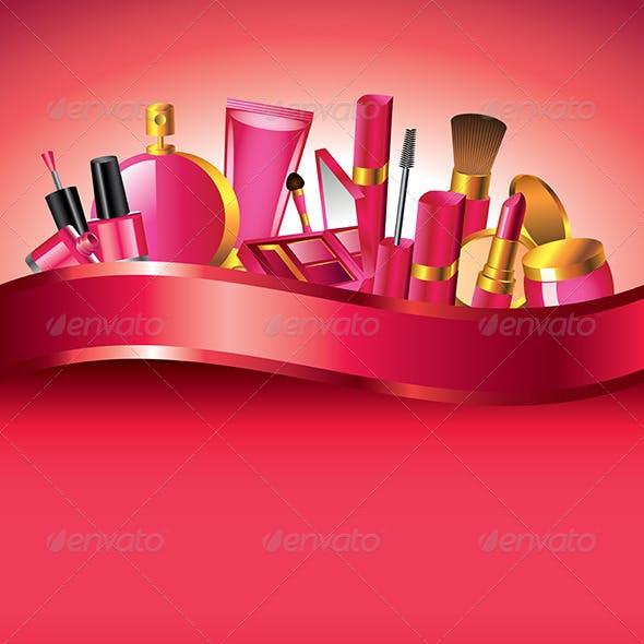 Cosmetics Vertical Vector Background