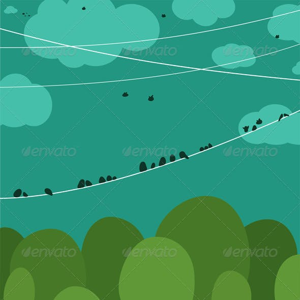 Forest and Birds Sitting on Wires