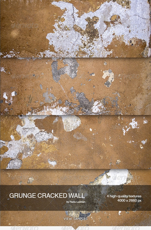 4 Grunge Cracked Wall Textures - Concrete Textures