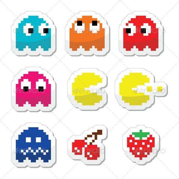 Pacman and Ghosts 80's Retro Computer Game