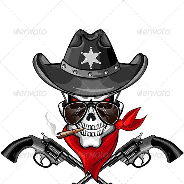 Sheriff Skull with Pistols and a Cigar