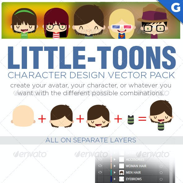 Little-Toons Characters Design Vector Pack