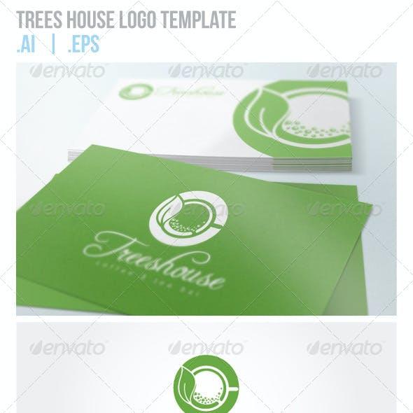 Trees House Green Coffee and Tea Logo Template