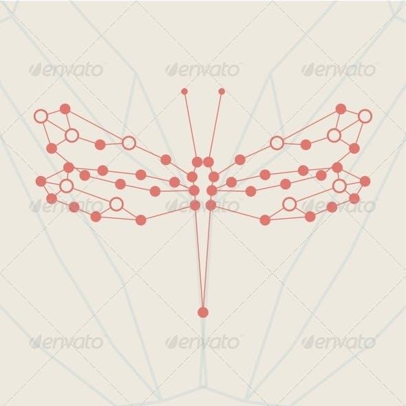 Retro Style, Dragonfly Illustration.
