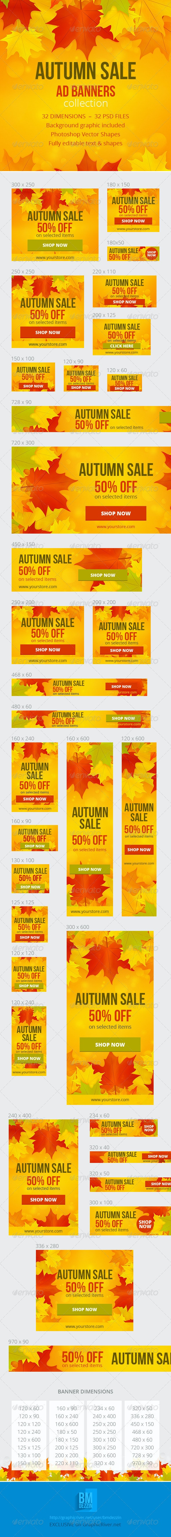 Autumn Sale Ad Banners - Banners & Ads Web Elements