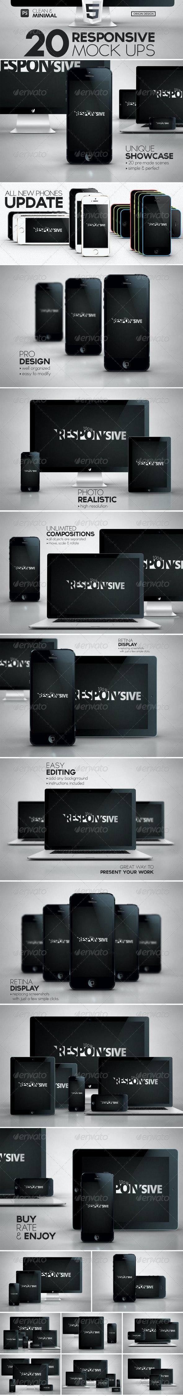 20 Responsive iScreens Mock Up Pack - Multiple Displays