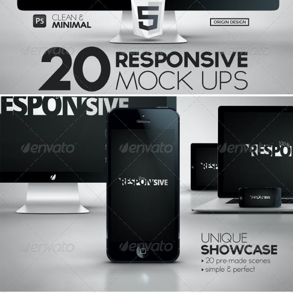 20 Responsive iScreens Mock Up Pack