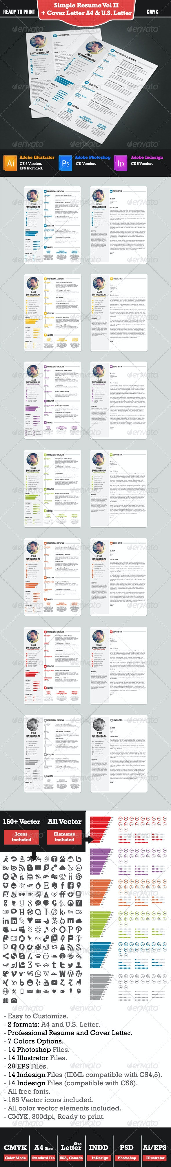 Simple Resume 2 + Cover Letter. A4 and US Letter  - Resumes Stationery