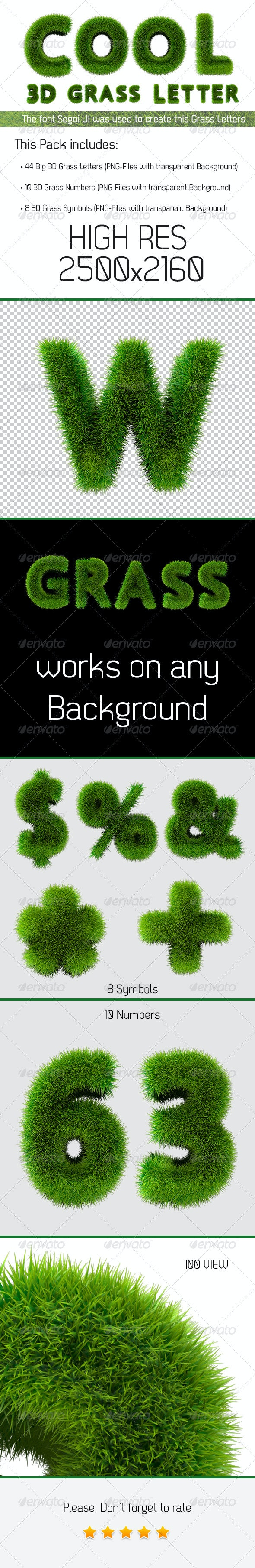 Grass Letters 3D - Text 3D Renders