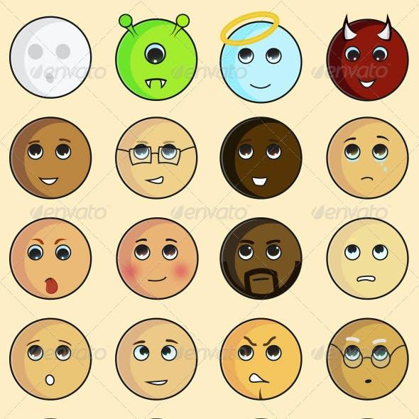 24 Cartoon Character Emoticons