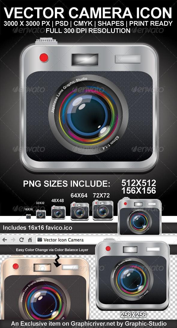 Printable Vector Camera Icon - Media Icons