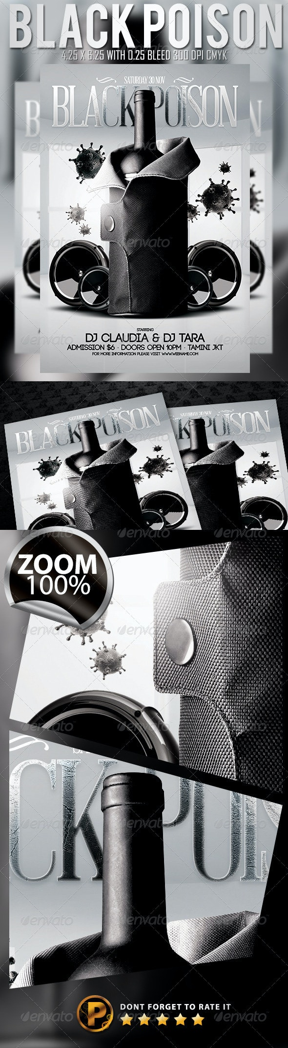 Black Poison Flyer Template - Clubs & Parties Events