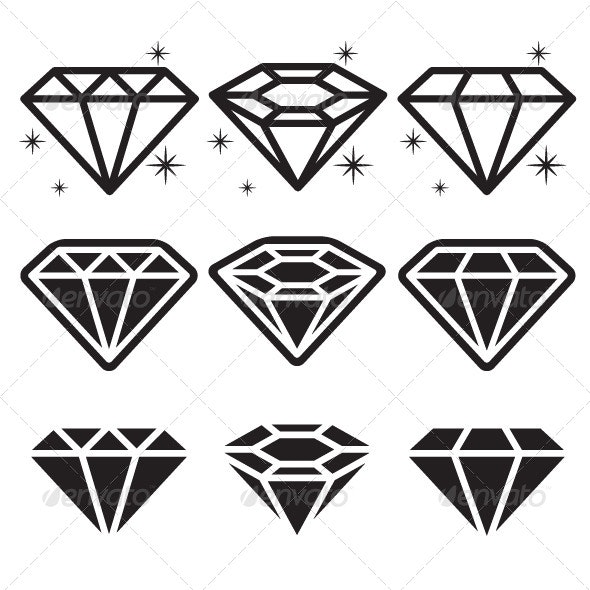 Diamond Icons Set - Man-made objects Objects