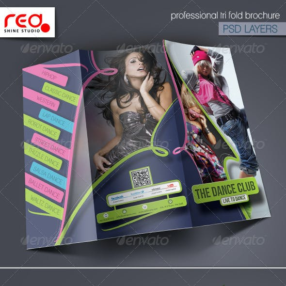 Dance Academy Trifold Brochure Template - 2
