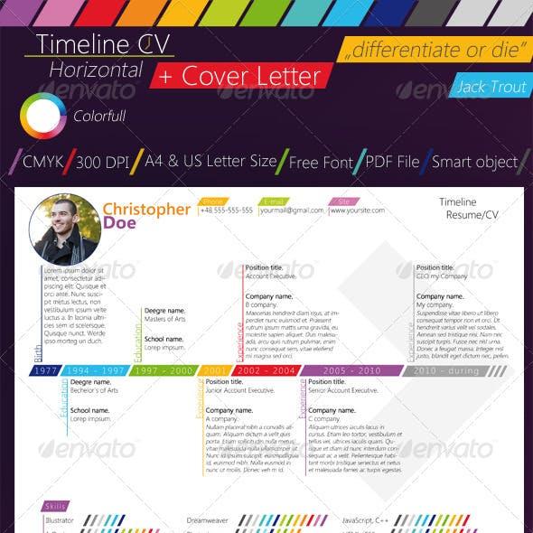 Colorfull Timeline Resume/CV