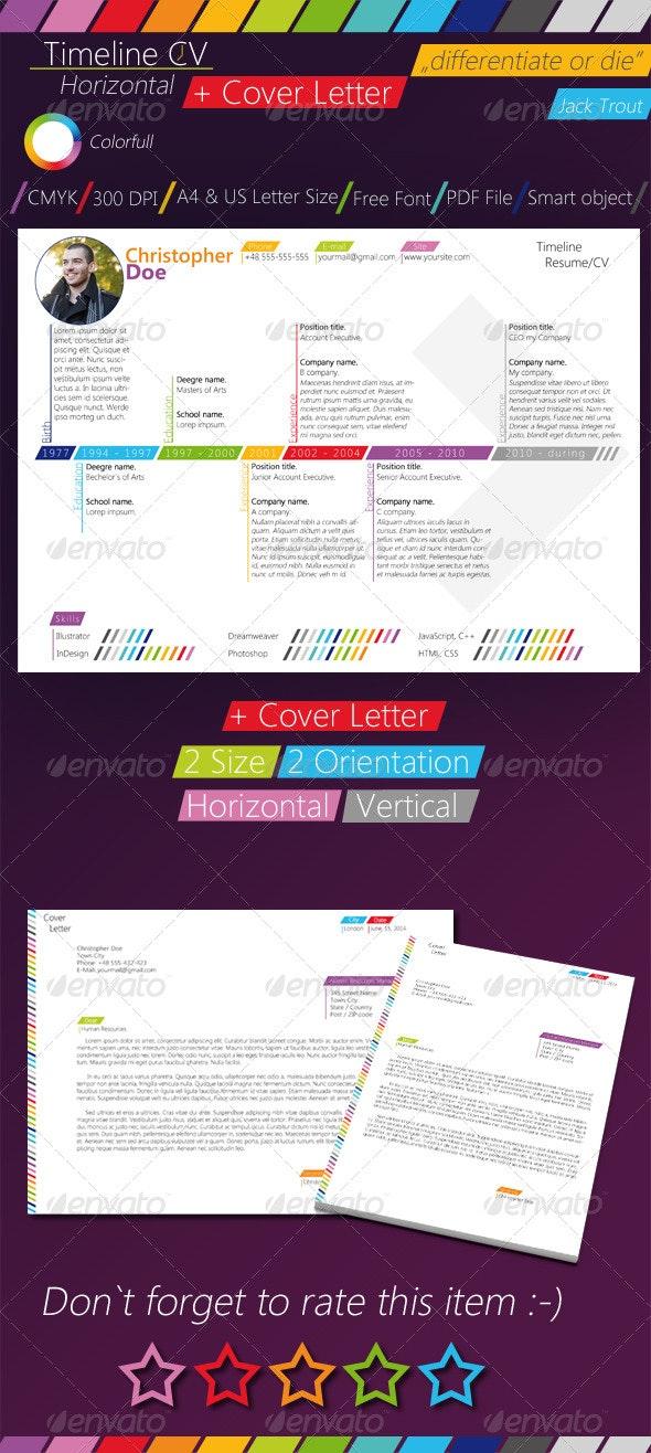 Colorfull Timeline Resume/CV - Resumes Stationery