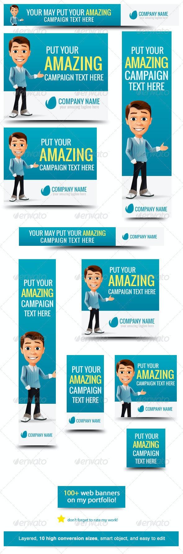 Business Cartoon Web Banner - Banners & Ads Web Elements