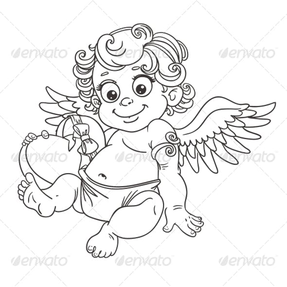 Cupid with Candy Outline for Coloring