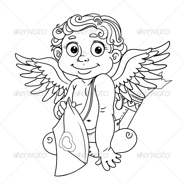 Cupid with Love Letter Outline for Coloring