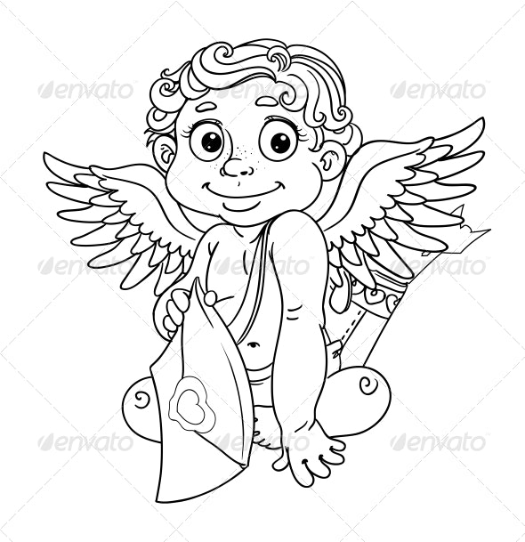 Cupid with Love Letter Outline for Coloring - Valentines Seasons/Holidays