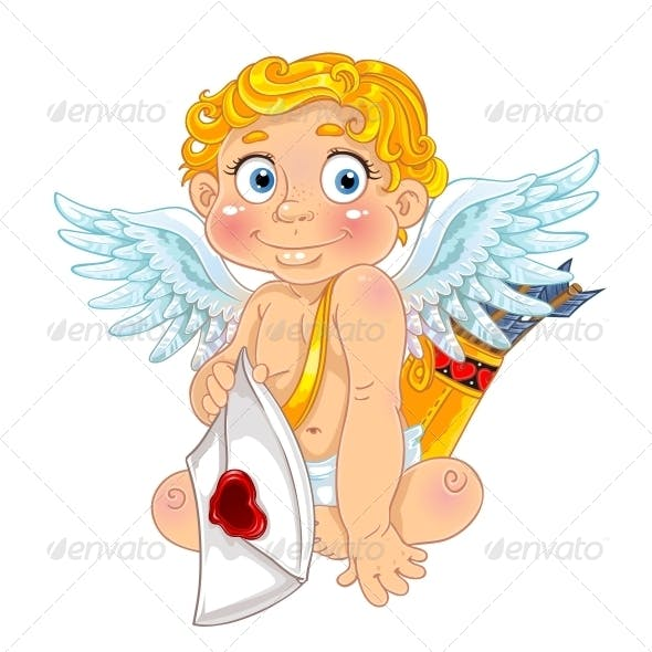 Cupid with Love Letter and Arrows