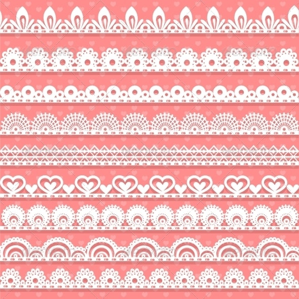 Large Set of Openwork Lace Borders - Valentines Seasons/Holidays