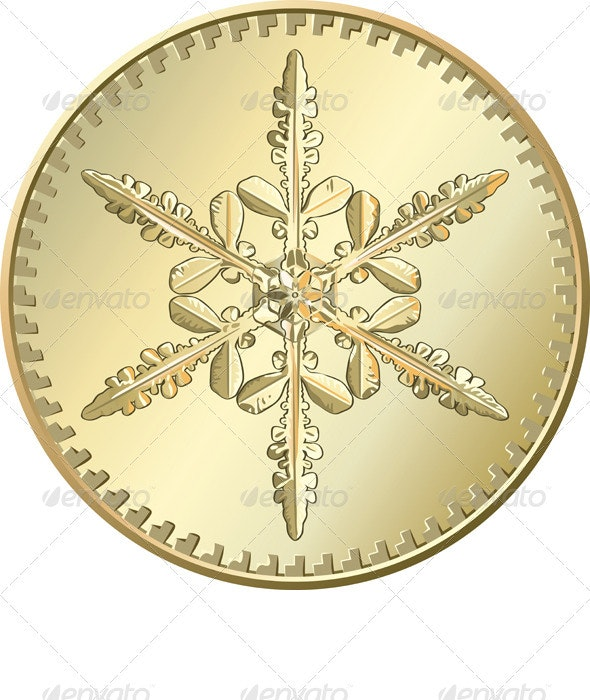 Vector gold coin with snowflake - Christmas Seasons/Holidays
