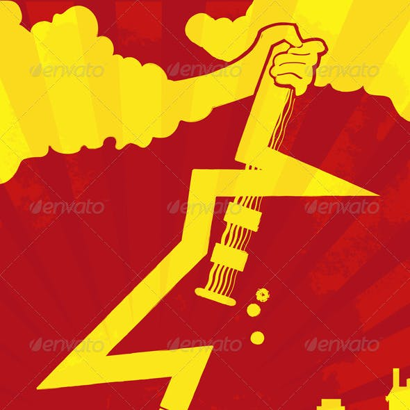 Lightning Guitar Rocking on City Concept
