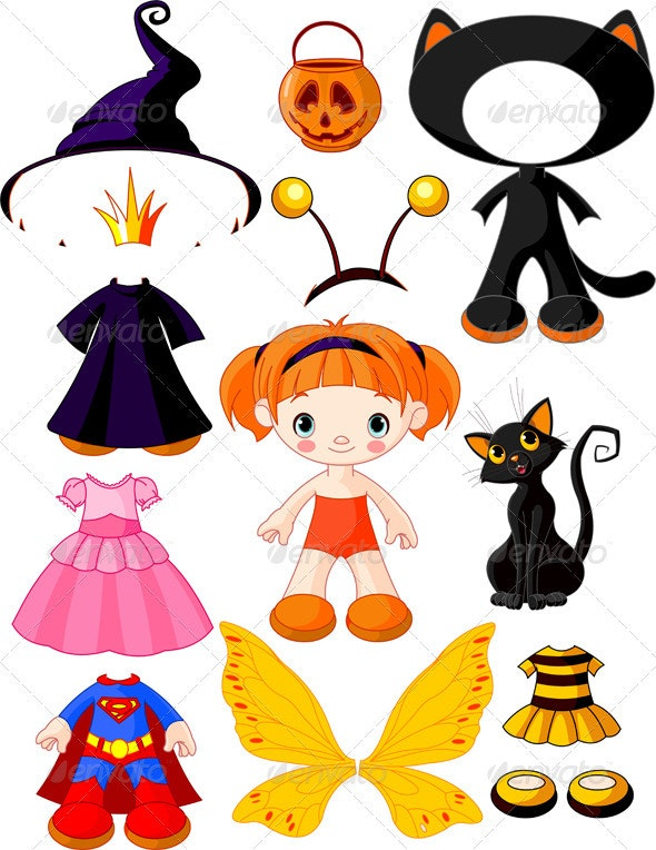 Girl with dresses for Halloween Party - Halloween Seasons/Holidays