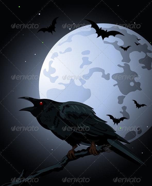 Crow  against a full moon - Halloween Seasons/Holidays