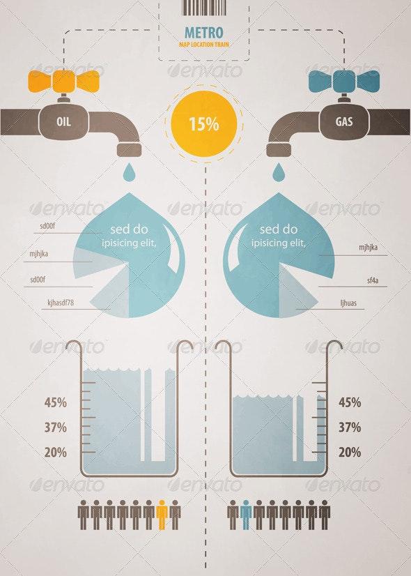 Retro infographics account scheme with a liquid - Infographics