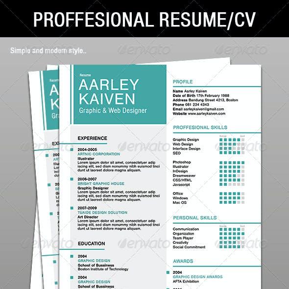 4 Piece Proffesional Resume / CV