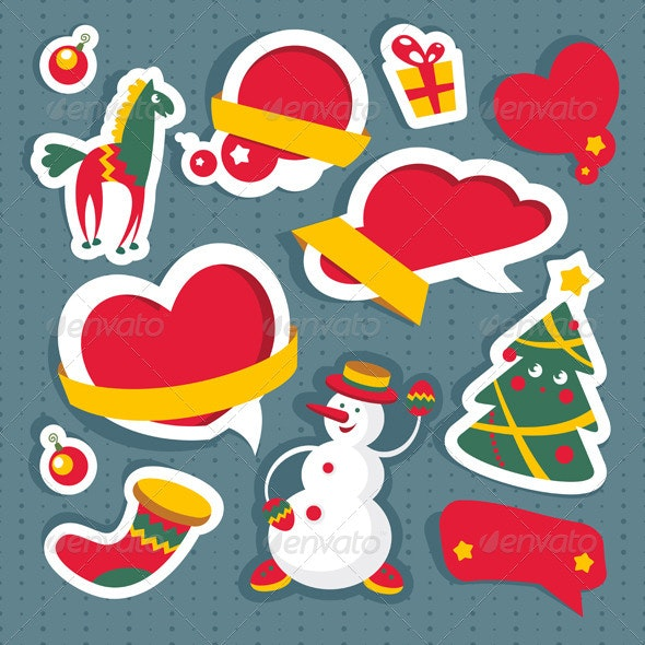 Set of Christmas and New Year Elements - Seasons/Holidays Conceptual