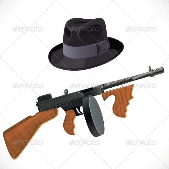 Fedora Hat and a Thompson Gun for a Retro Party