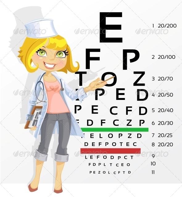 Woman Doctor Optometrist Testing Visual Acuity - Health/Medicine Conceptual