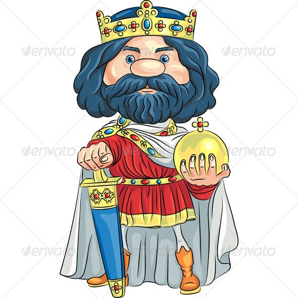 Vector Cartoon King with a Golden Crown