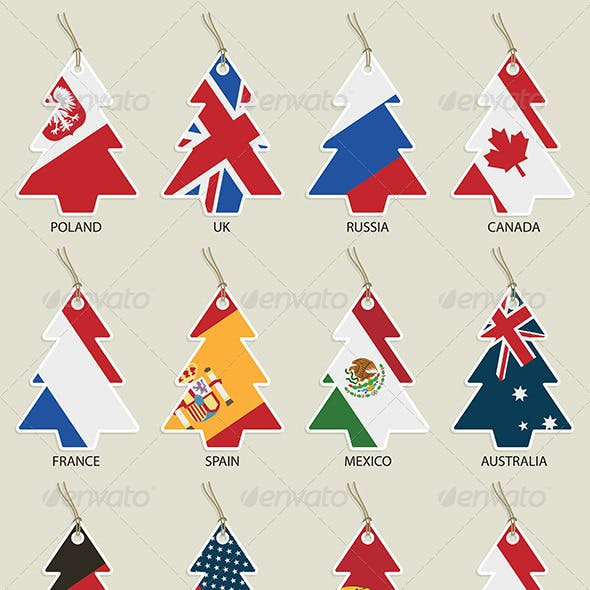 Christmas Tree Flag Tags