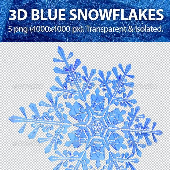 3D Blue Snowflakes