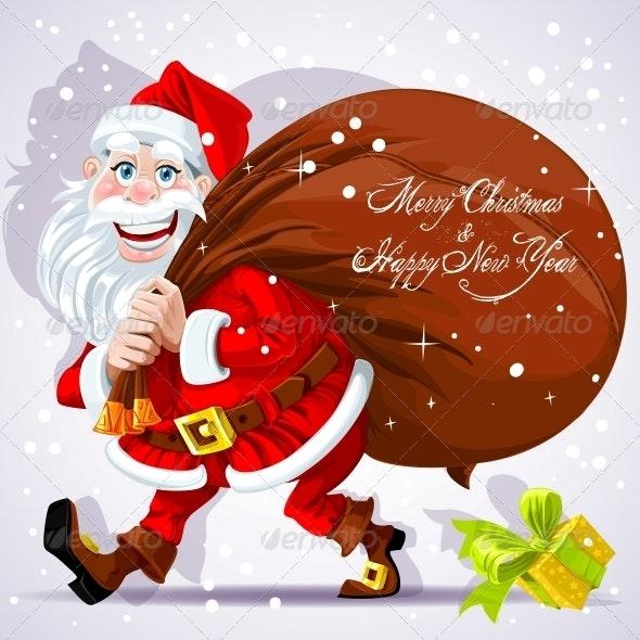 Santa Claus Carries a Bag of Gifts  - New Year Seasons/Holidays