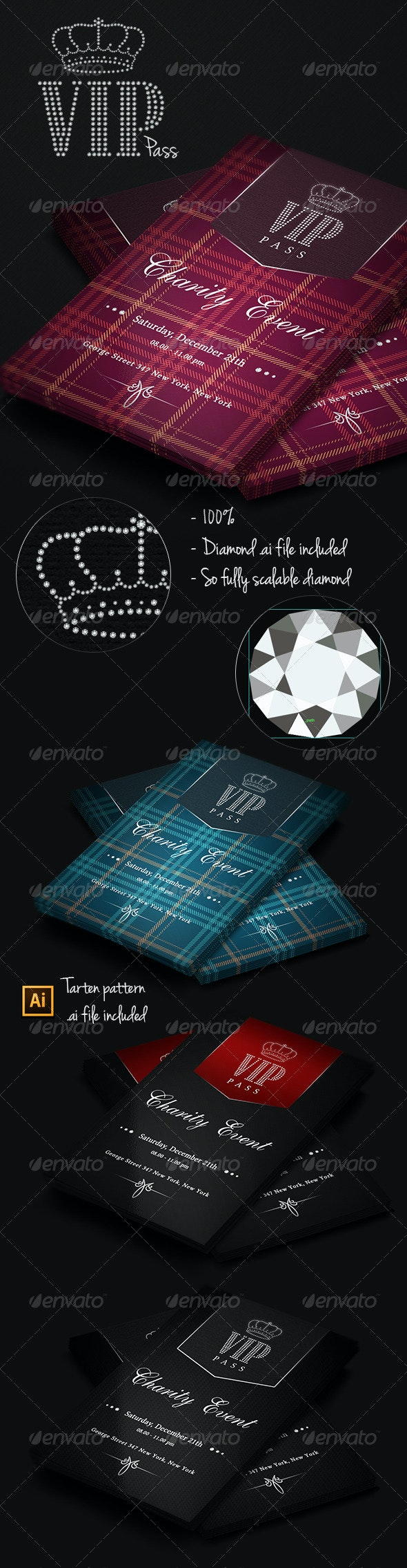 VIP Pass - Charity Event - Invitations Cards & Invites