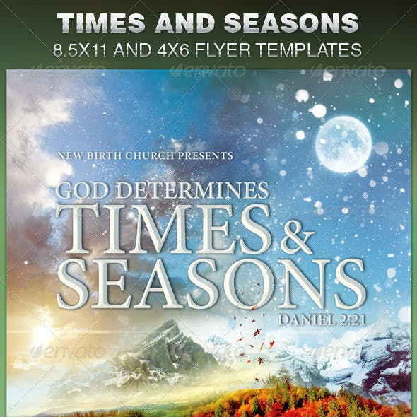 God Determines Times And Seasons Church Flyer