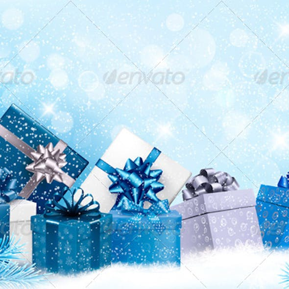 Christmas Blue Background with Gift Boxes and Snow