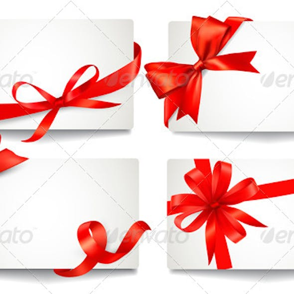 Set of Gift Cards with Red Gift Bows.