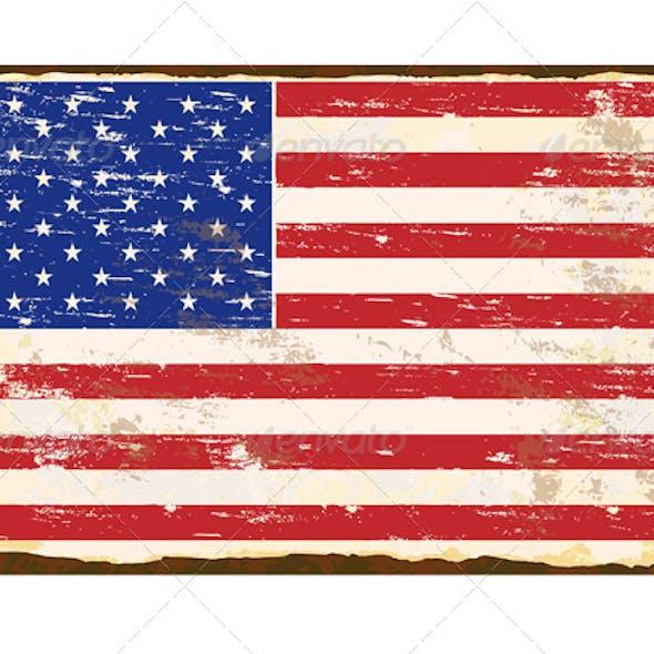 American Flag Enamel Sign