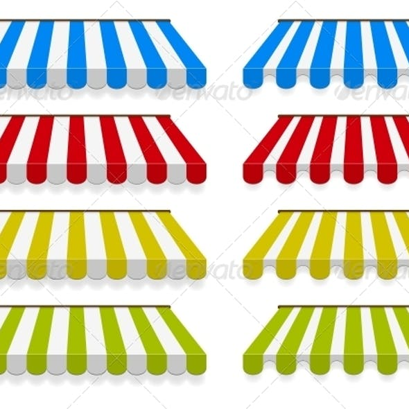 Colored Awnings Vector Set